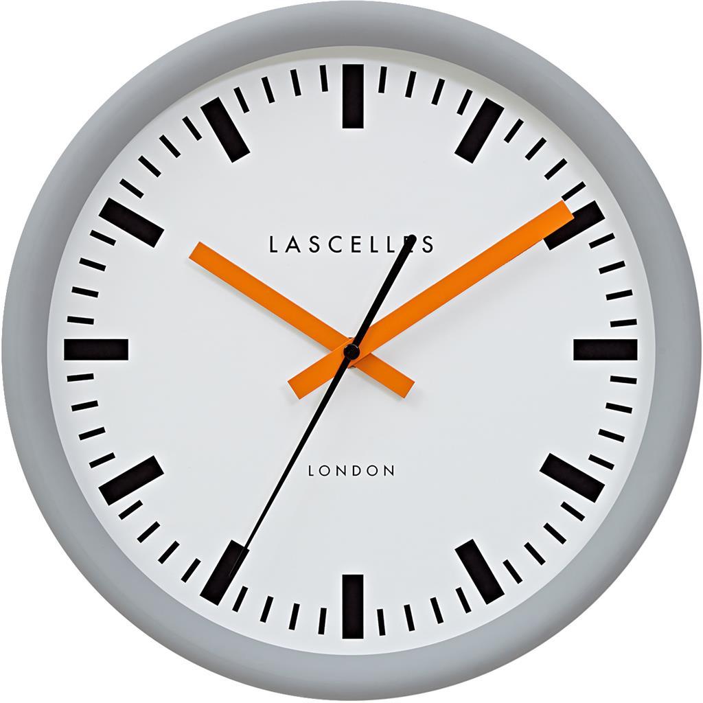 Grey Swiss Station Clock With Baton Orange Hands 30cm