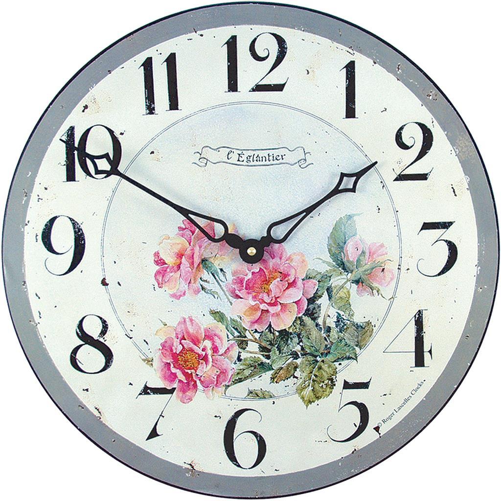 Pink Roses Wall Clock 36cm Kitchen Clocks