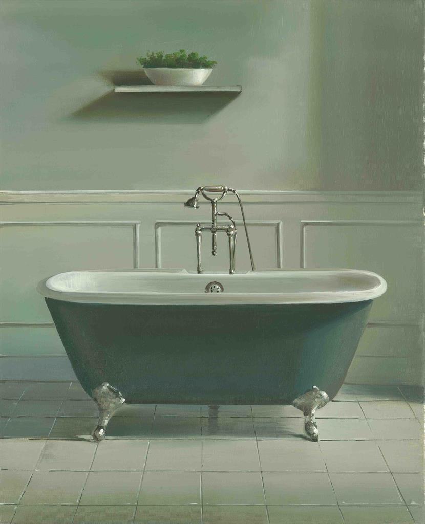 Grey Country Bathroom With Rolltop Bath: Grey Roll Top Bath And Plant