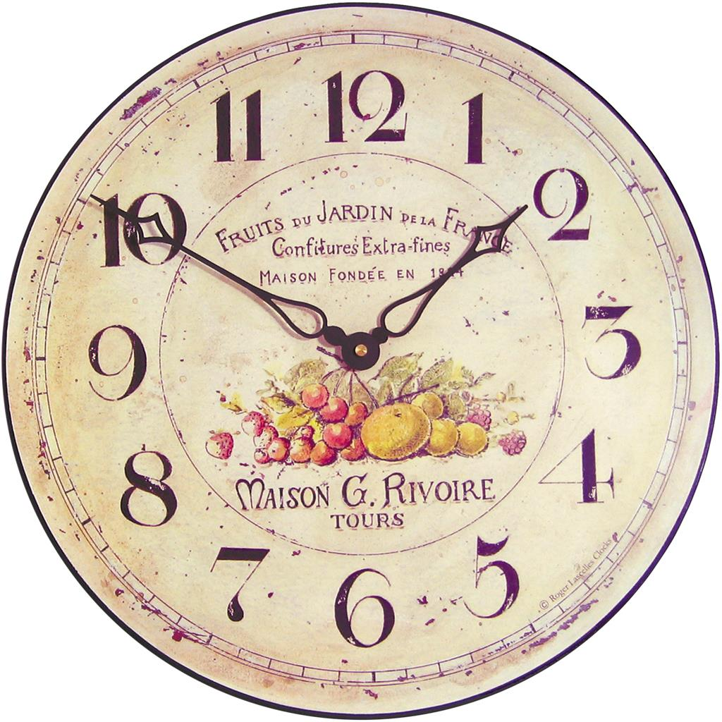 Garden Fruits French Wall Clock 36cm Kitchen Clocks