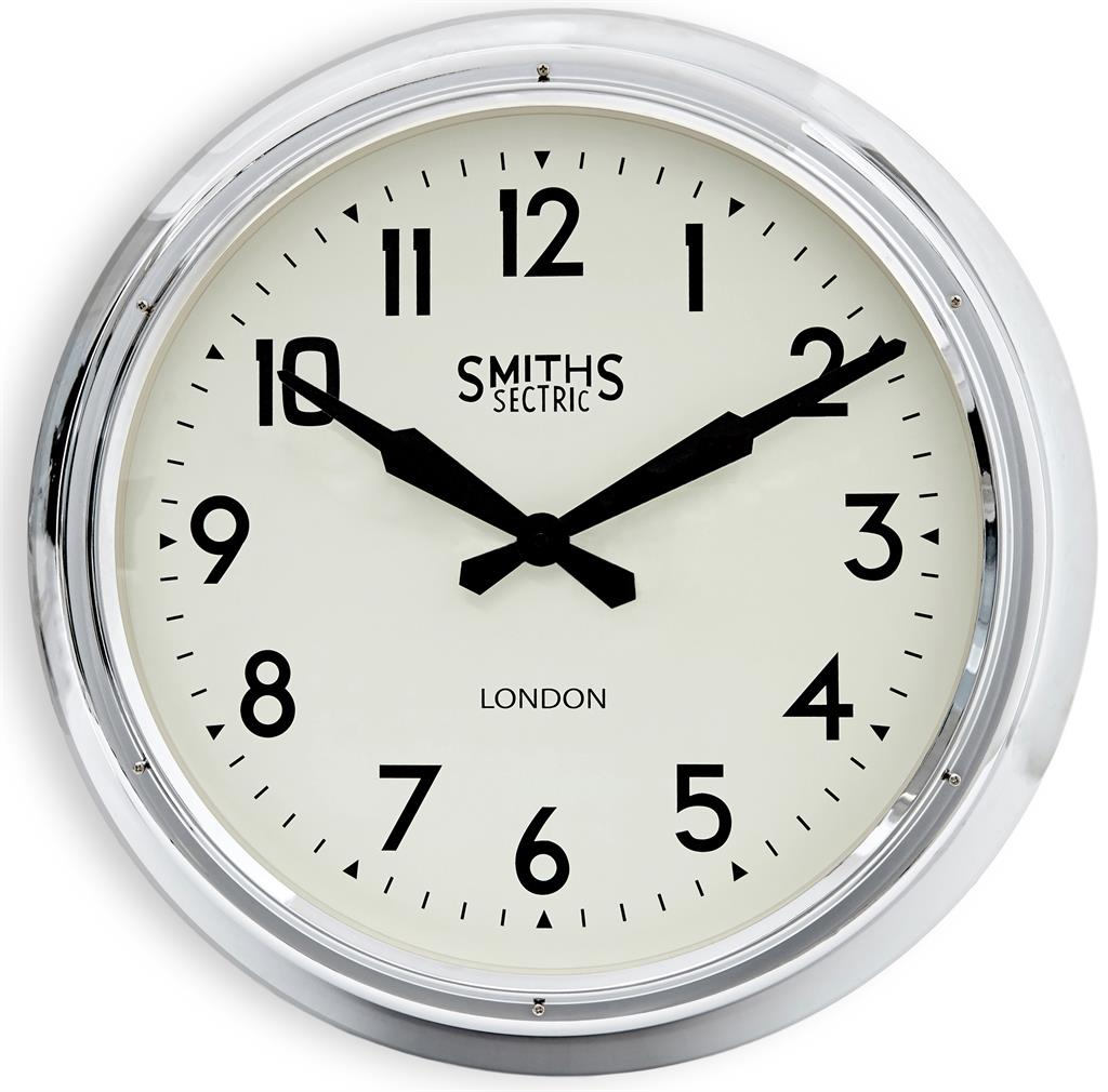 Extra Large Smiths Wall Clock In Chrome 60cm