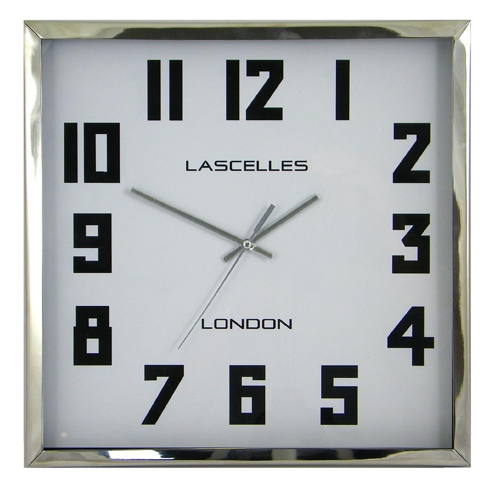 Square Chrome Cased Manhattan Clock 30 5cm