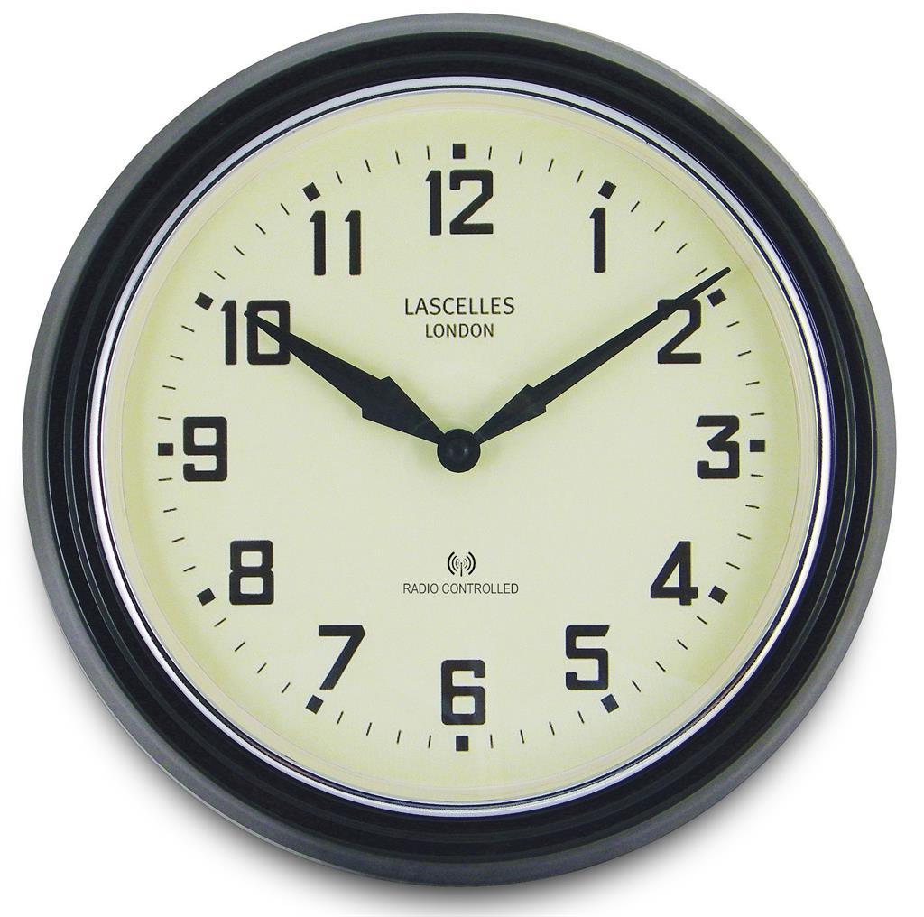 radio controlled retro black wall clock 30cm
