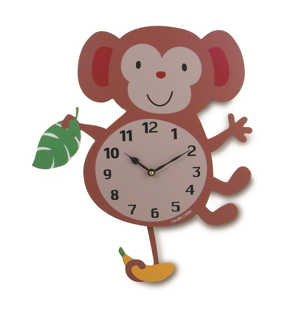 Children's Monkey Wall Clock with Pendulum