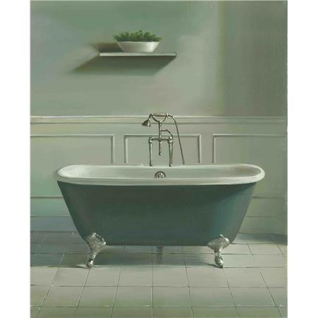 Grey Roll Top Bath and Plant