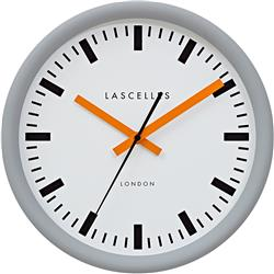 Grey Swiss Station Clock with Baton Orange Hands - 30cm