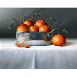 Oranges in Shinny Metal Bowl