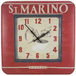 Square Tin Marino Kitchen Clock, Coffee Design - 31cm
