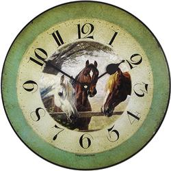 Horses 'Old Friends', Wall Clock - 36cm