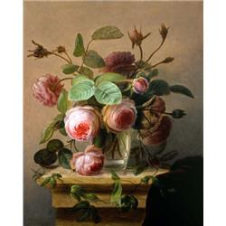 A still life of pink roses in a glass vase
