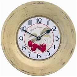 Tin Plate French Wall Clock, Cherries Design - 26cm