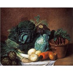 Still Life with artichokes, asparagus & cabbage