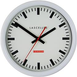Swiss Inspired Station Clock in white with Sweep Second Hand 30cm