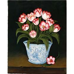 Blue and White vase of Tulips