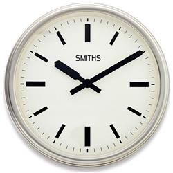 Smiths Large Silver Metal Clock - 45cm