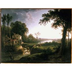 River landscape with stream and watermill