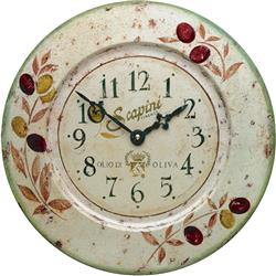 French Tin Wall Clock, Olives Design - 36cm