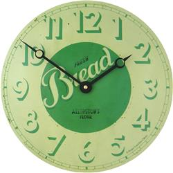 Convex Tin Clock, Fresh Bread Design - 28cm Kitchen Clock