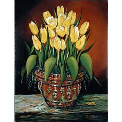 Yellow Tulips in terracotta pot