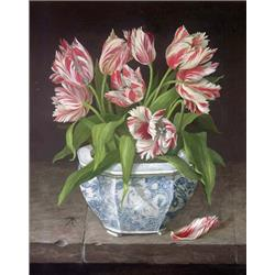 Red Parrot Tulips in China Vase