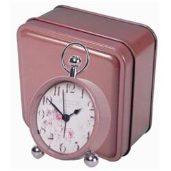 Pretty Bedside Alarm, Florist Dial in Tin