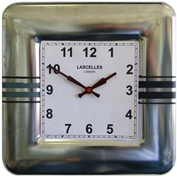 Square Tin Wall Clock, Stripes Design - 31cm