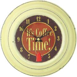 Small Tin Clock, Coffee Design - 18.5cm