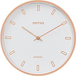 MODERN ROSE GOLD CASE, WHITE SMITHS DIAL WALL CLOCK - 30CM