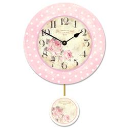 'Florist' Wall Clock with Pendulum - 28.5cm