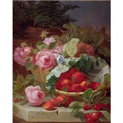 Still Life of Strawberries and Roses