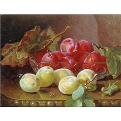 Red Plums in Glass Bowl