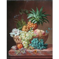 Pineapple and fruits in basket