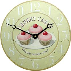 Enamel Cherry Cakes Clock - 27cm Kitchen Clock