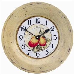 Tin Plate French Wall Clock, Plum Design - 26cm