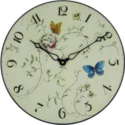 BUTTERFLIES WOODEN WALL CLOCK - 36CM