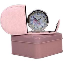 Fold Away, Genuine Leather in Pink Case  Alarm Clock + Tin - Florist Dial