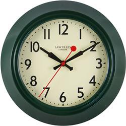 Retro Green Metal Wall Clock, Sweep Seconds Hand - 25.5cm