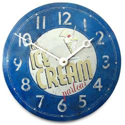 Convex Tin Clock, Ice Cream Parlour - 28cm Kitchen Clock