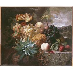 Still life of grapes and pineapple on ledge