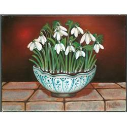 Snow Drops in blue and white bowl