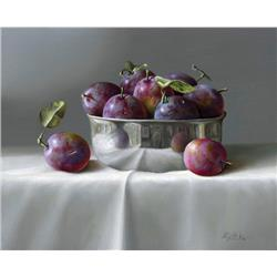 Plums in Shinny Metal Bowl