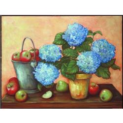 Hydrangeas with apples
