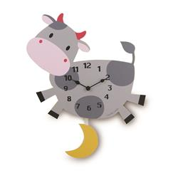 Children's Cow Wall Clock with Pendulum - 39cm