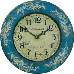 French Tin Wall Clock, Lily Design - 36cm
