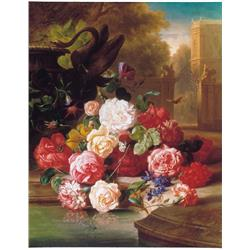 Still life of flowers in front of a Castle in Bohemia