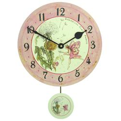 Childrens Fairie Wall Clock with Pendulum - 28.5cm
