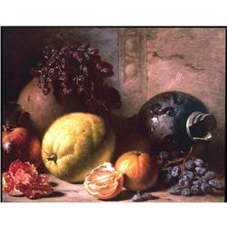 Still life with fruit and pots