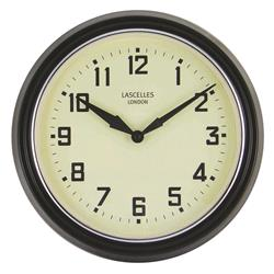 A Retro Clock in Black with Silver Bezel - 30cm