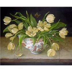 Cream Tulips in China Vase