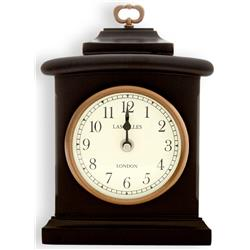 Black Wooden Mantel Clock - 22x19x6cm